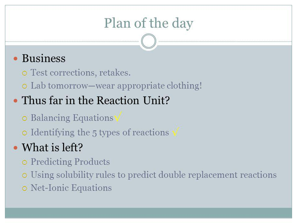 Plan of the day Business Thus far in the Reaction Unit What is left