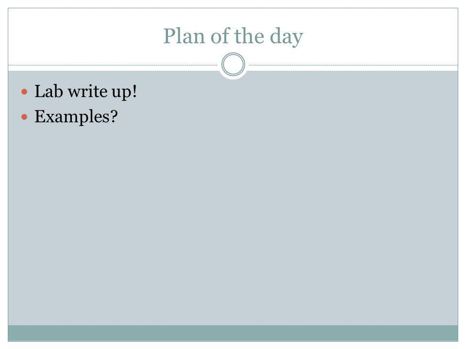 Plan of the day Lab write up! Examples