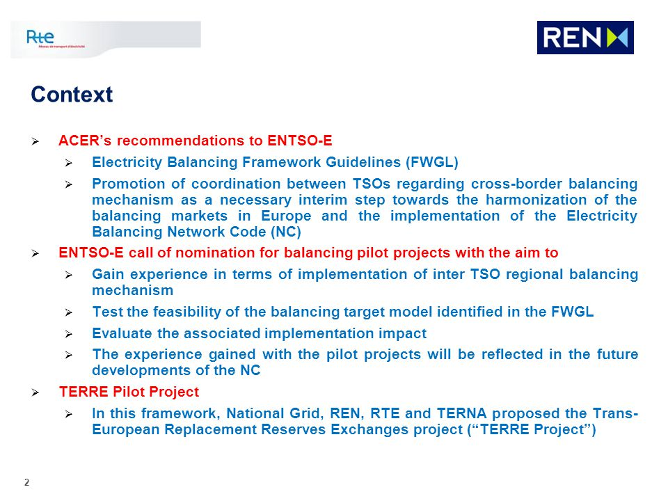 Context ACER's recommendations to ENTSO-E