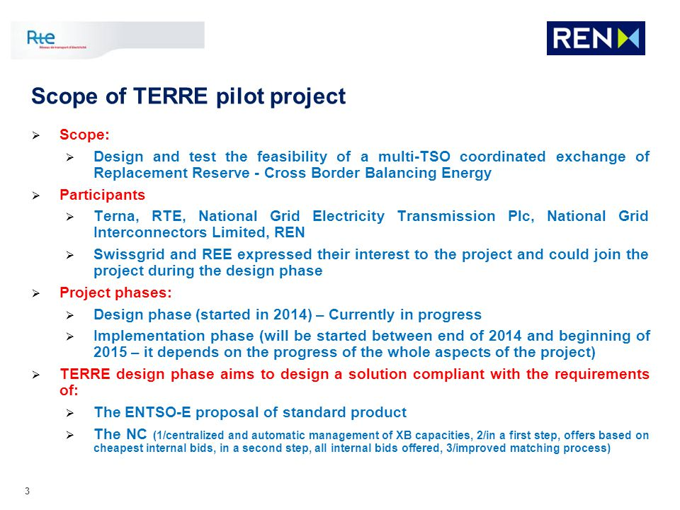 Scope of TERRE pilot project
