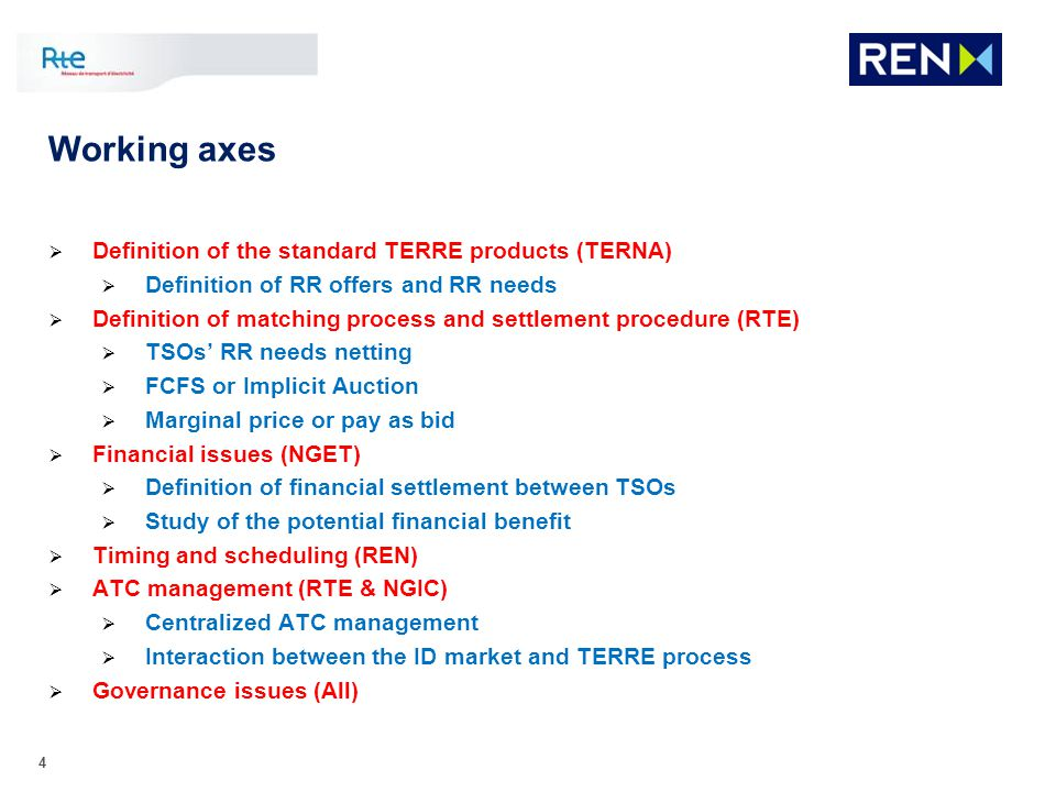 Working axes Definition of the standard TERRE products (TERNA)