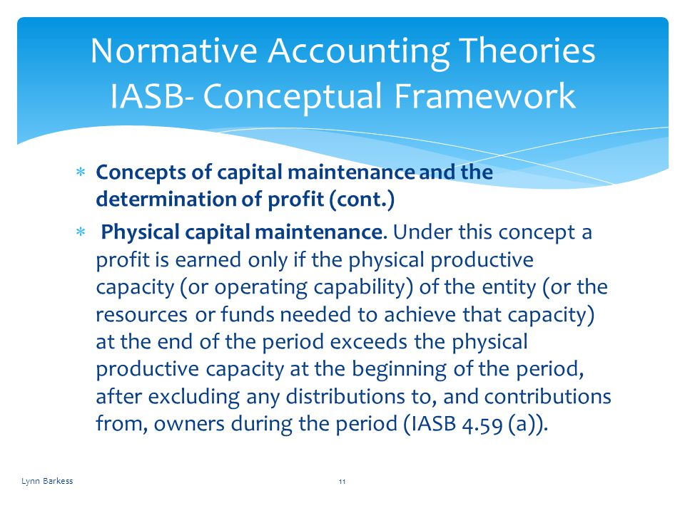 Normative Accounting Theories IASB- Conceptual Framework
