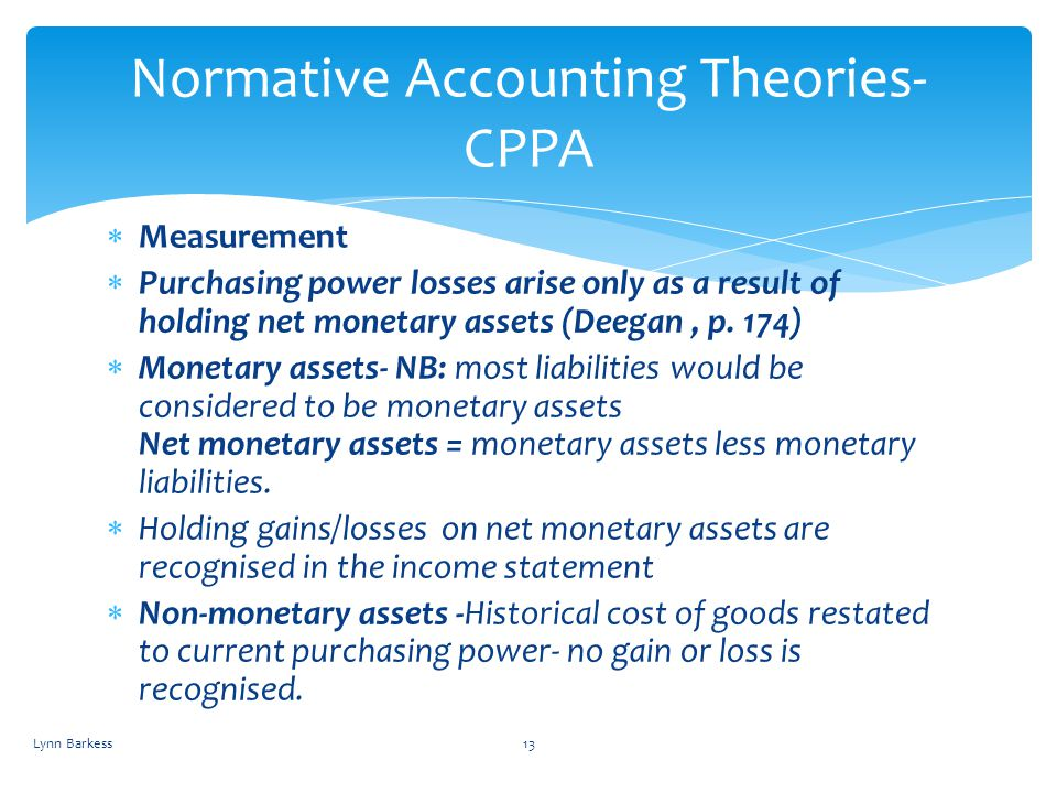 Normative Accounting Theories- CPPA