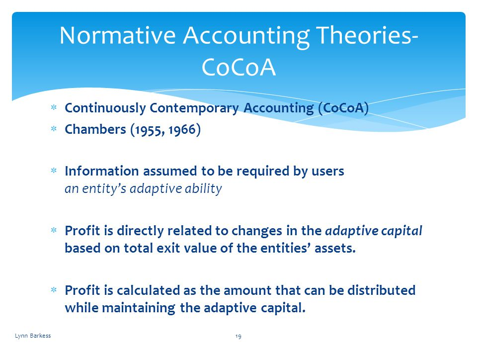 Normative Accounting Theories- CoCoA