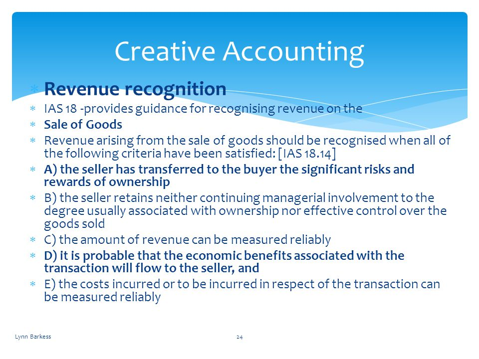 Creative Accounting Revenue recognition