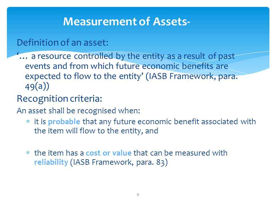 Measurement of Assets-