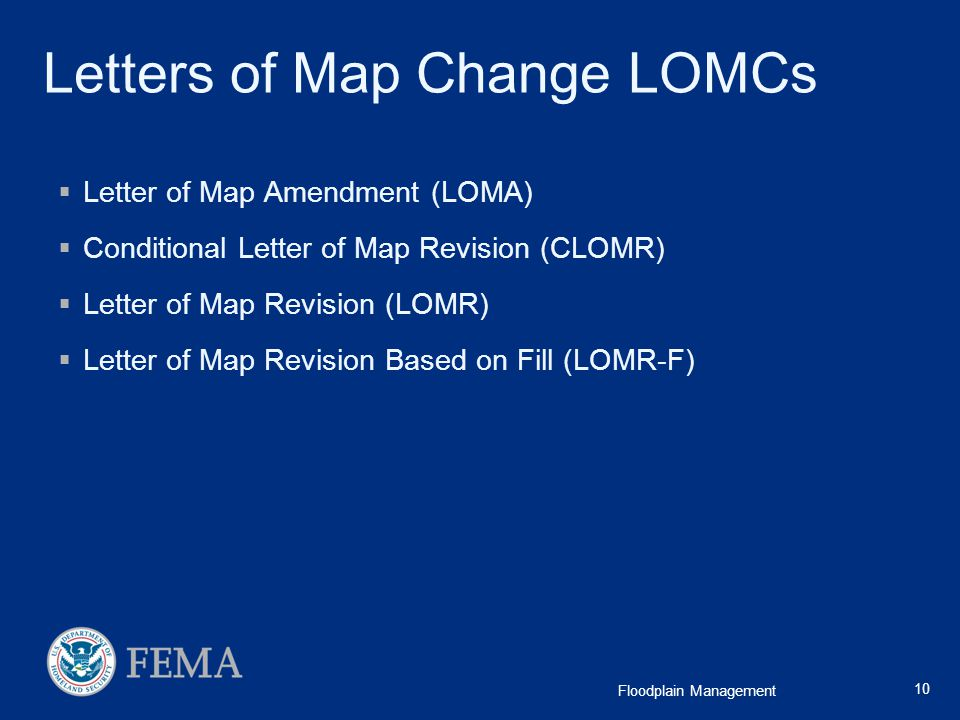Letters of Map Change LOMCs