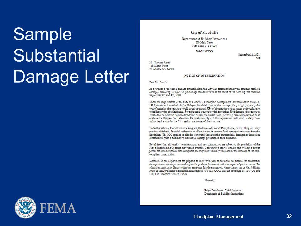 Sample Substantial Damage Letter