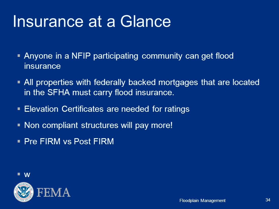 Insurance at a Glance Anyone in a NFIP participating community can get flood insurance.