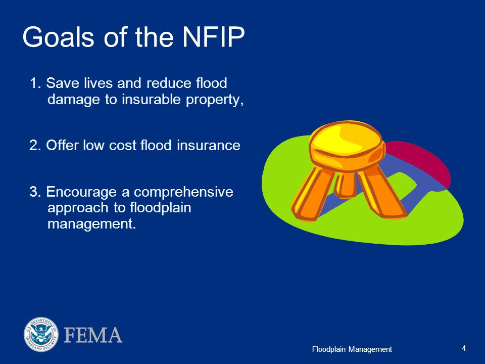 Goals of the NFIP 1. Save lives and reduce flood damage to insurable property, 2. Offer low cost flood insurance.