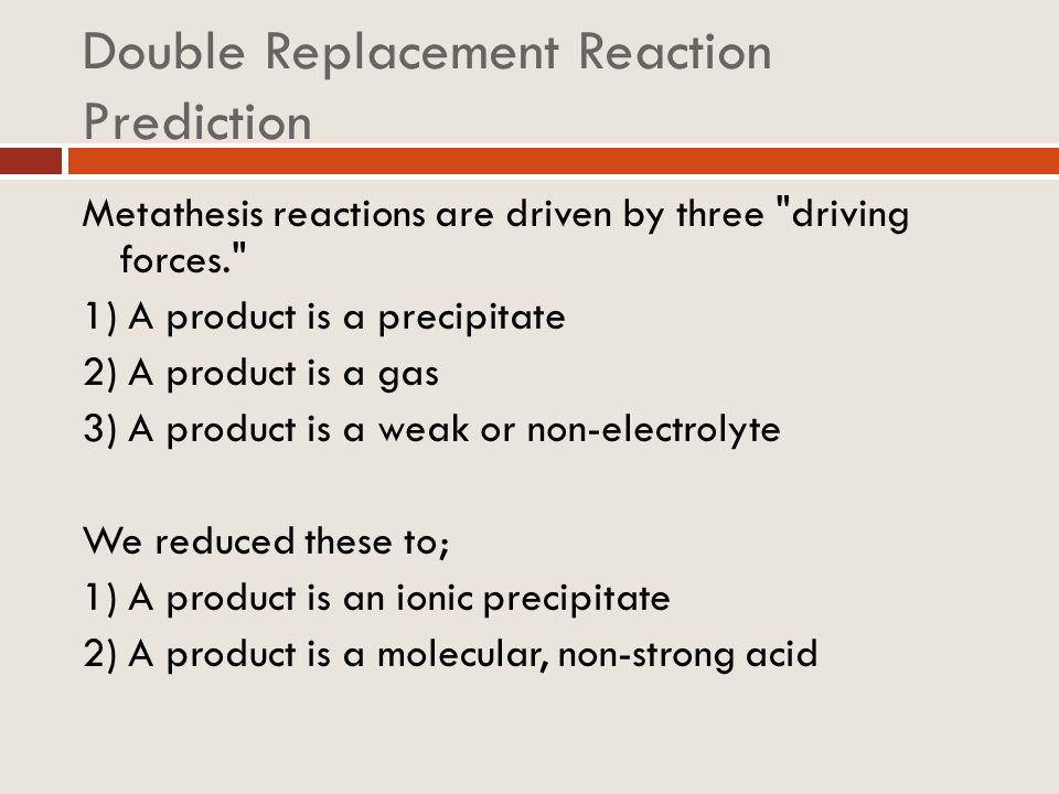 Double Replacement Reaction Prediction