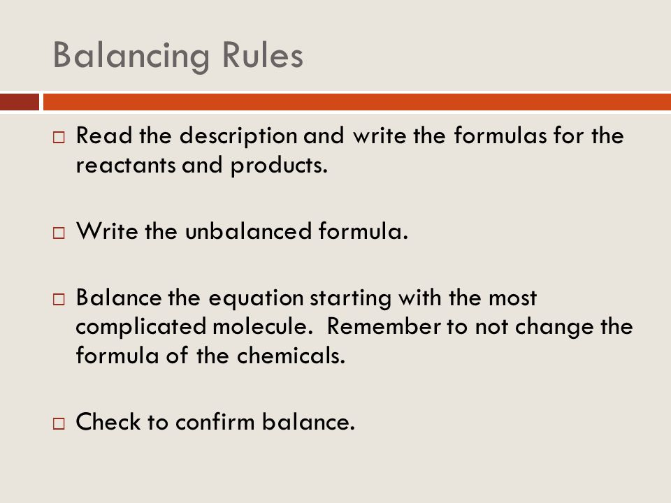 Balancing Rules Read the description and write the formulas for the reactants and products. Write the unbalanced formula.