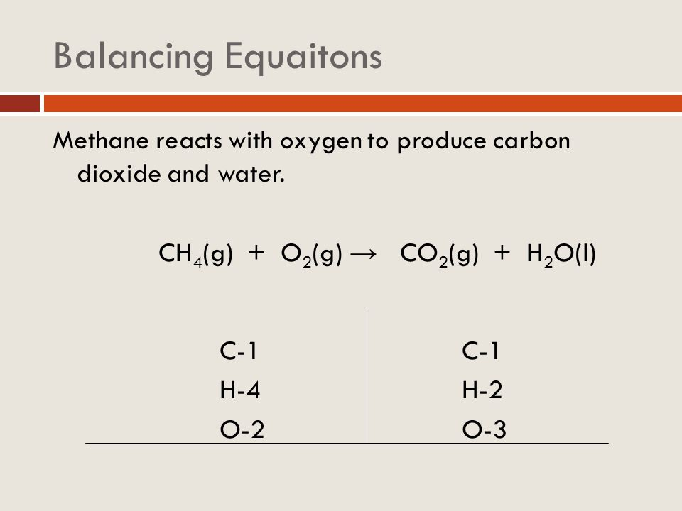 Balancing Equaitons Methane reacts with oxygen to produce carbon dioxide and water.