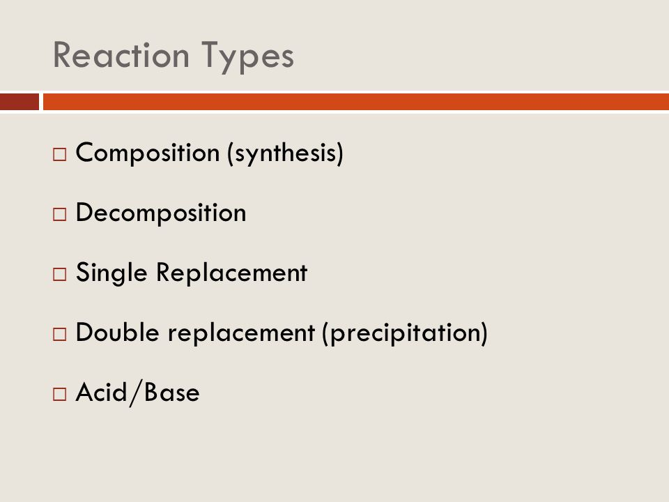 Reaction Types Composition (synthesis) Decomposition