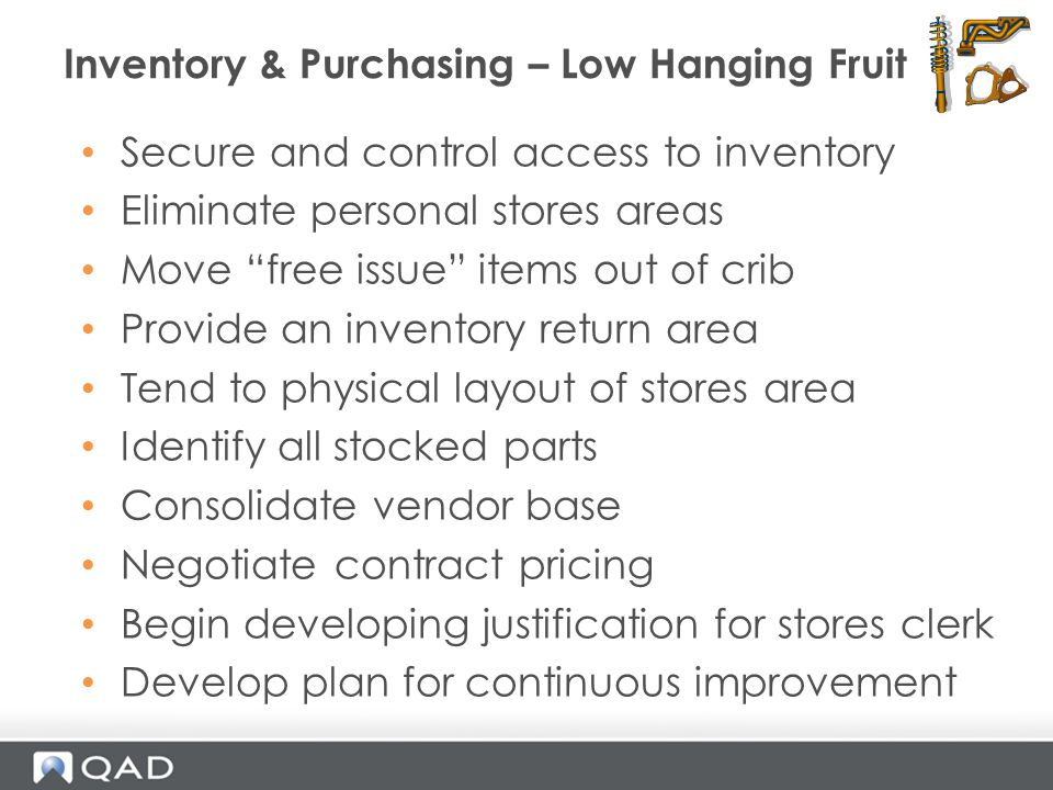 Inventory & Purchasing – Low Hanging Fruit