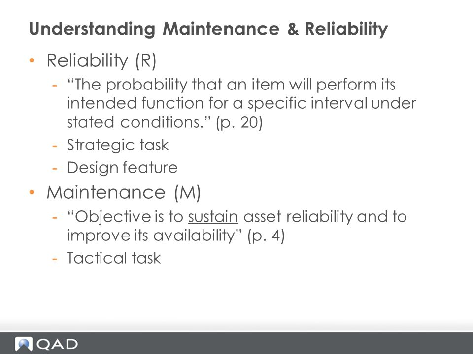 Understanding Maintenance & Reliability