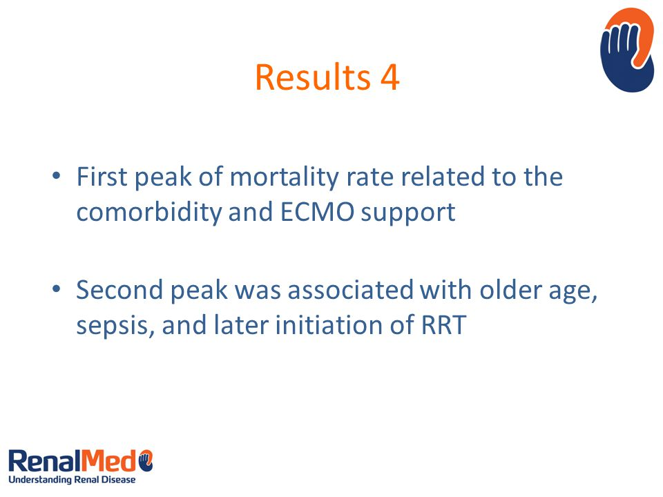 Results 4 First peak of mortality rate related to the comorbidity and ECMO support.