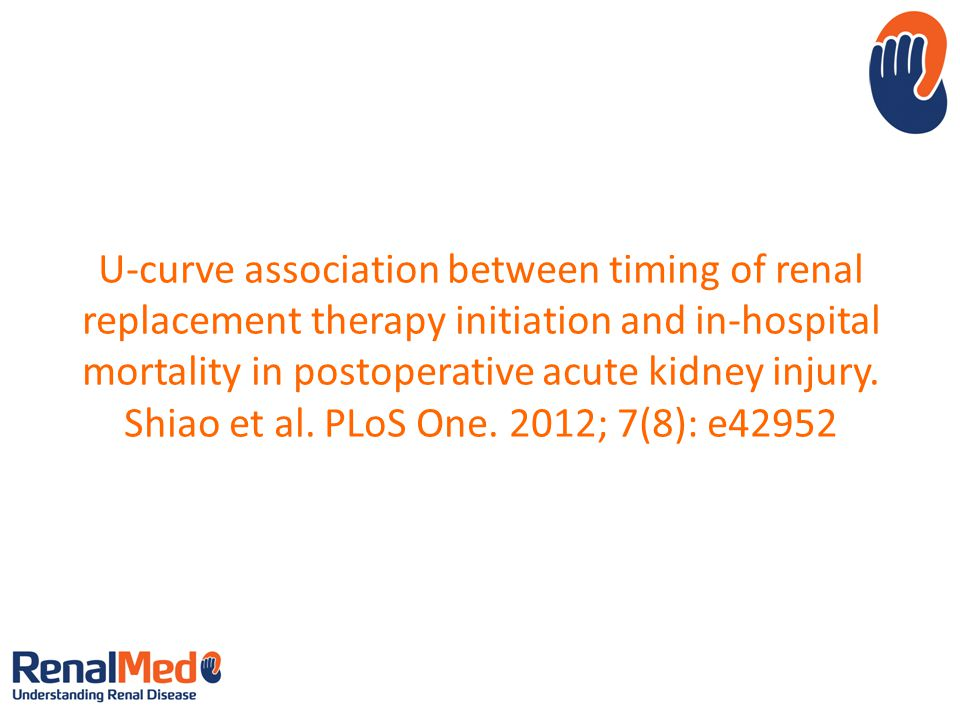 U-curve association between timing of renal replacement therapy initiation and in-hospital mortality in postoperative acute kidney injury.