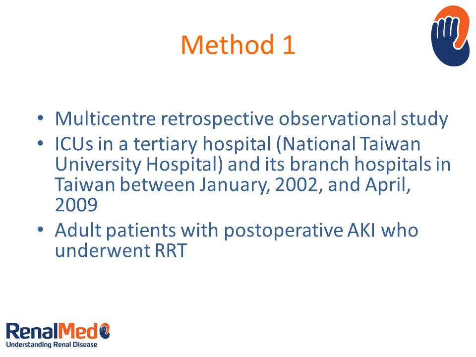 Method 1 Multicentre retrospective observational study