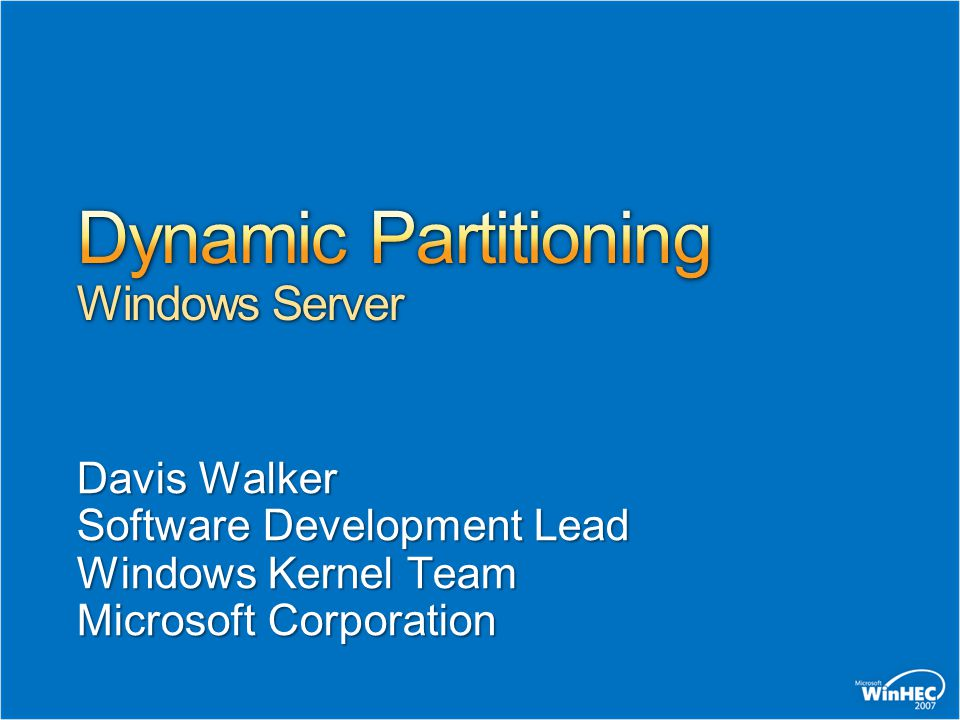 Dynamic Partitioning Windows Server