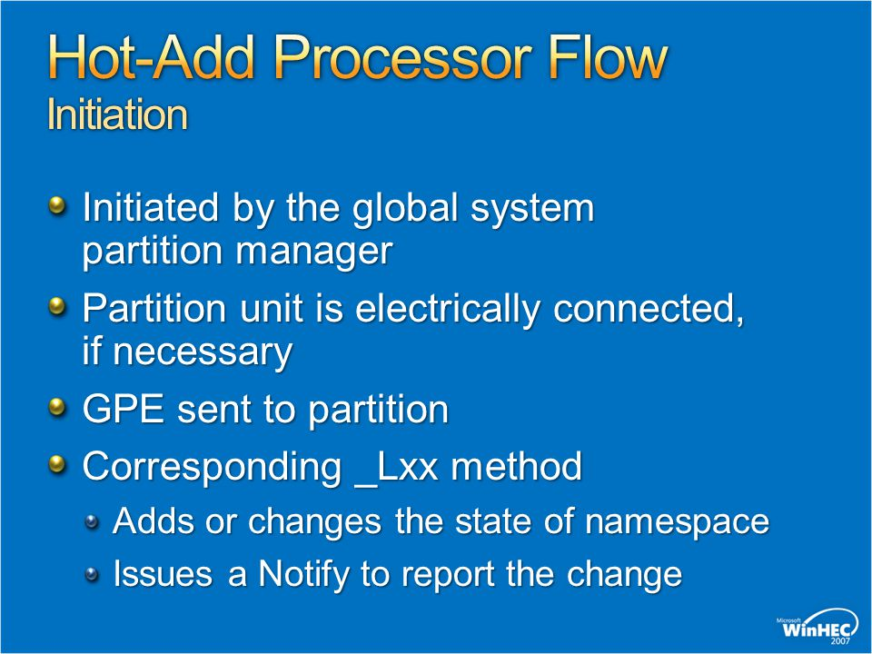 Hot-Add Processor Flow Initiation