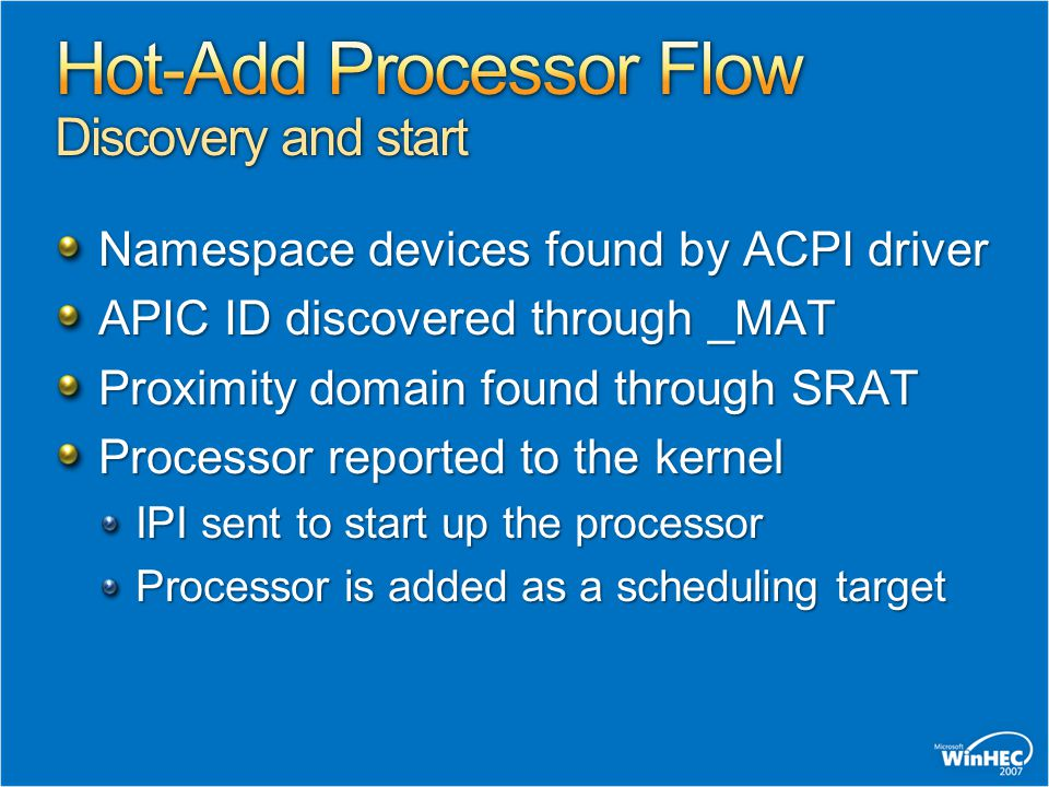 Hot-Add Processor Flow Discovery and start