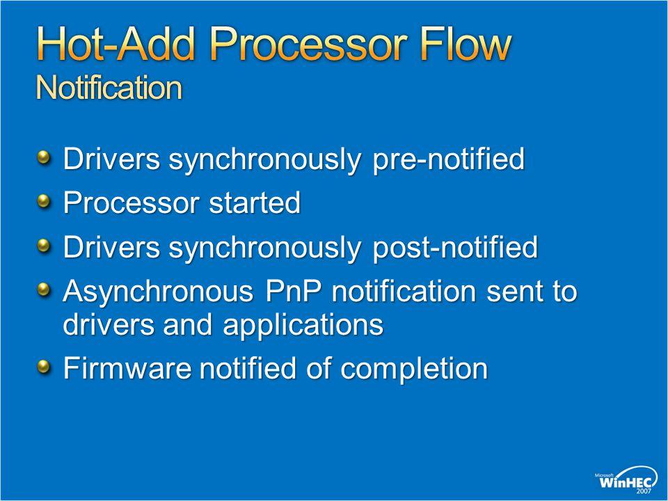 Hot-Add Processor Flow Notification