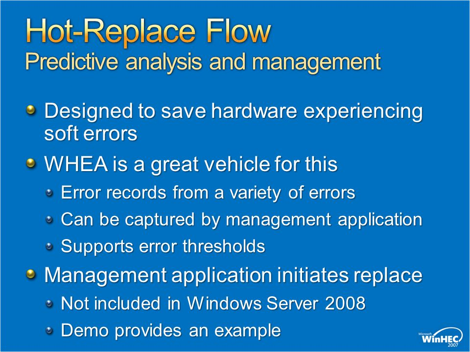 Hot-Replace Flow Predictive analysis and management