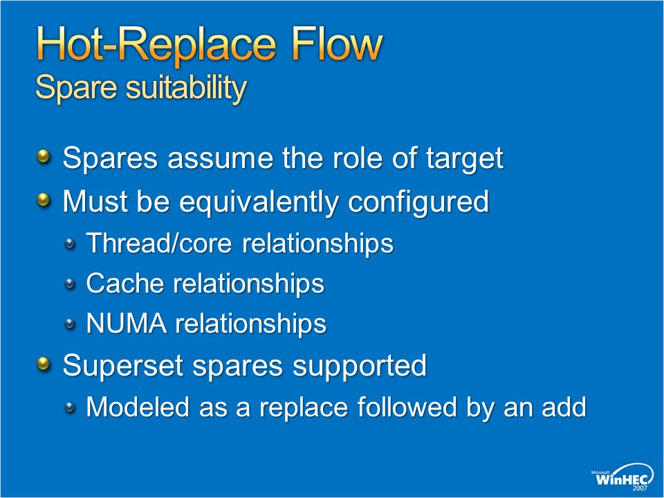 Hot-Replace Flow Spare suitability
