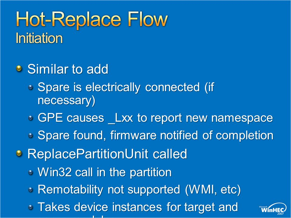 Hot-Replace Flow Initiation