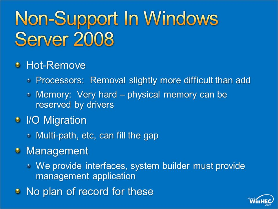Non-Support In Windows Server 2008