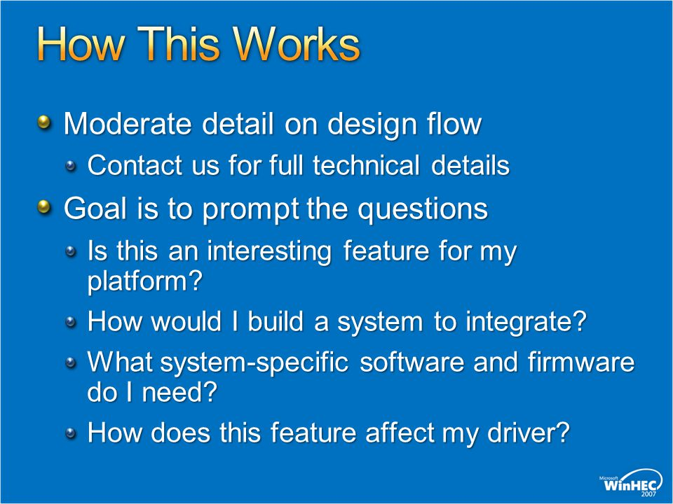 How This Works Moderate detail on design flow