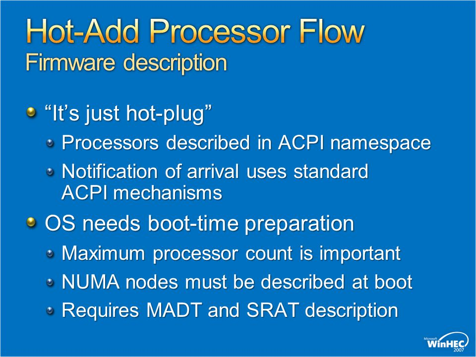Hot-Add Processor Flow Firmware description