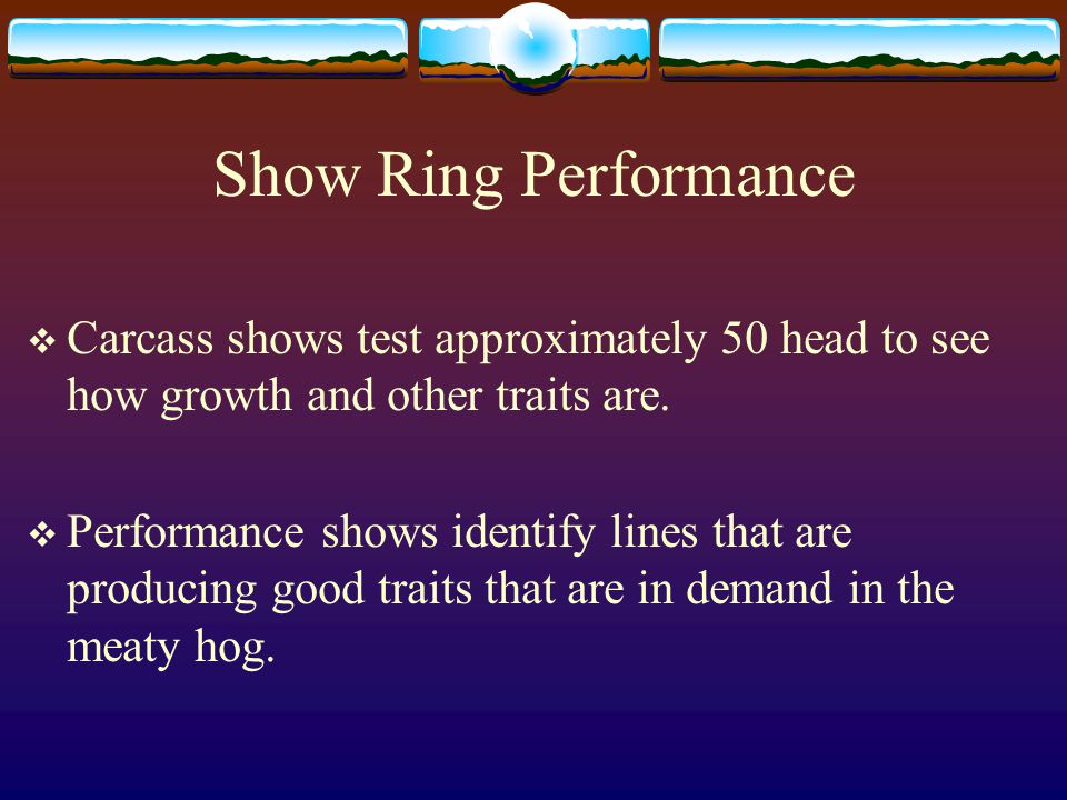 Show Ring Performance Carcass shows test approximately 50 head to see how growth and other traits are.