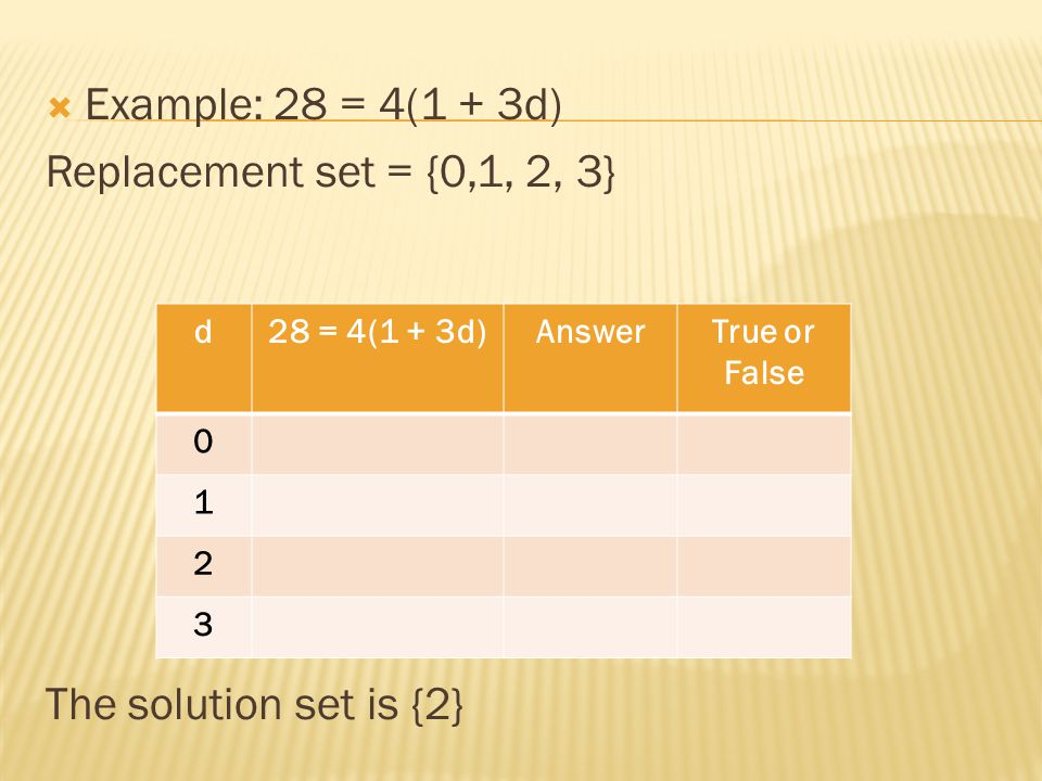 Example: 28 = 4(1 + 3d) Replacement set = {0,1, 2, 3}