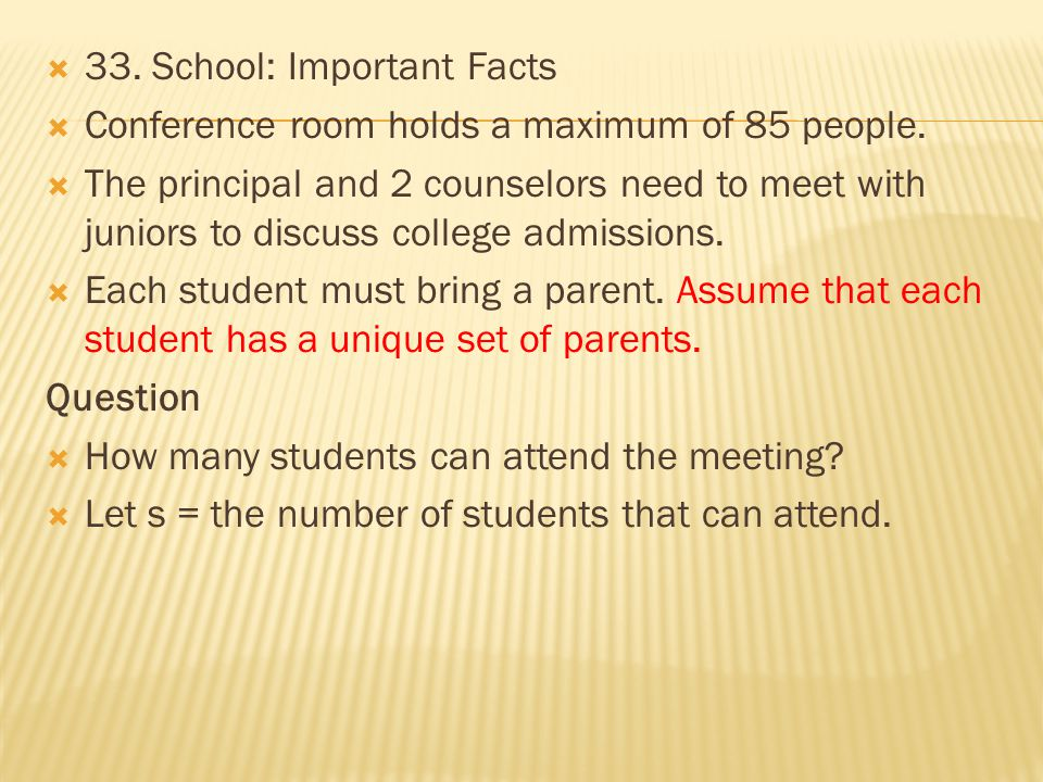33. School: Important Facts