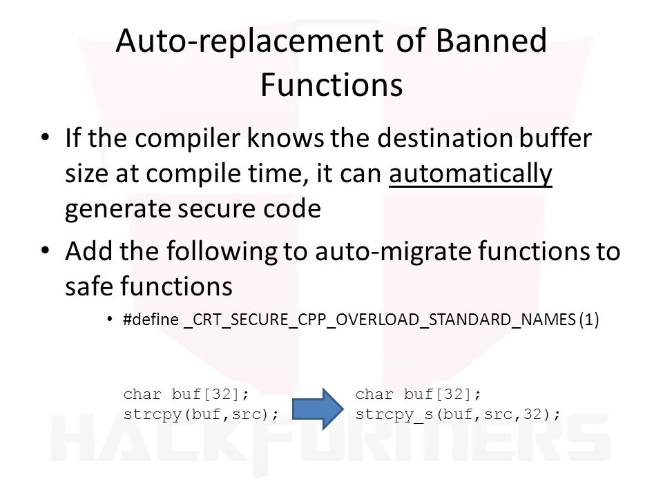 Auto-replacement of Banned Functions