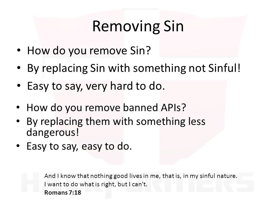 Removing Sin How do you remove Sin