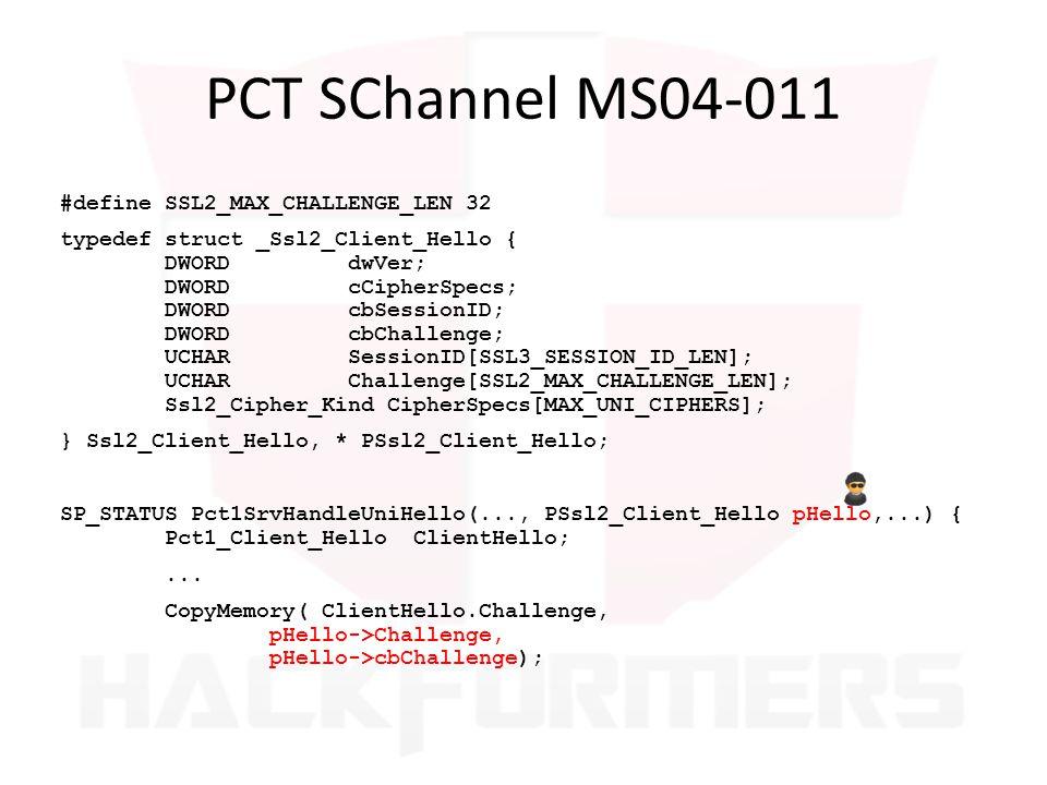 PCT SChannel MS04-011 #define SSL2_MAX_CHALLENGE_LEN 32