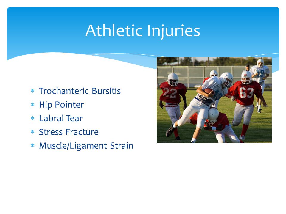 Athletic Injuries Trochanteric Bursitis Hip Pointer Labral Tear