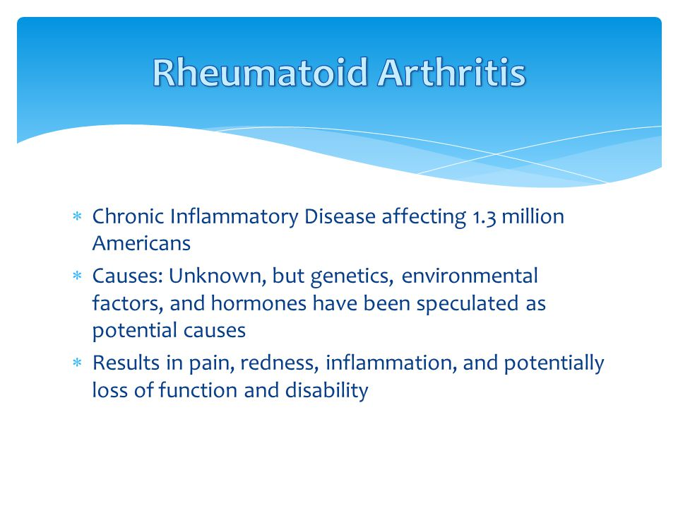 Rheumatoid Arthritis Chronic Inflammatory Disease affecting 1.3 million Americans.