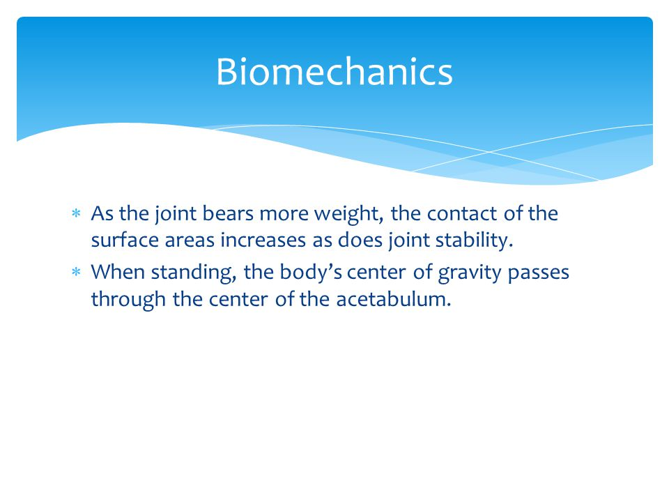 Biomechanics As the joint bears more weight, the contact of the surface areas increases as does joint stability.