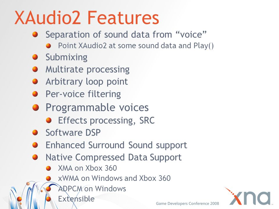 XAudio2 Features Programmable voices