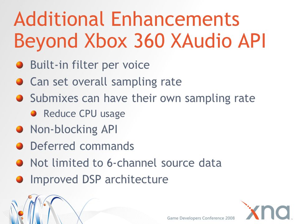 Additional Enhancements Beyond Xbox 360 XAudio API