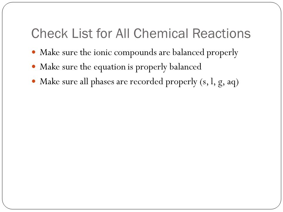 Check List for All Chemical Reactions