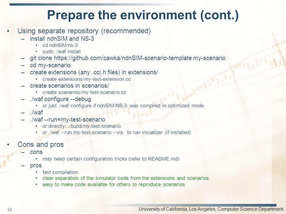 Prepare the environment (cont.)