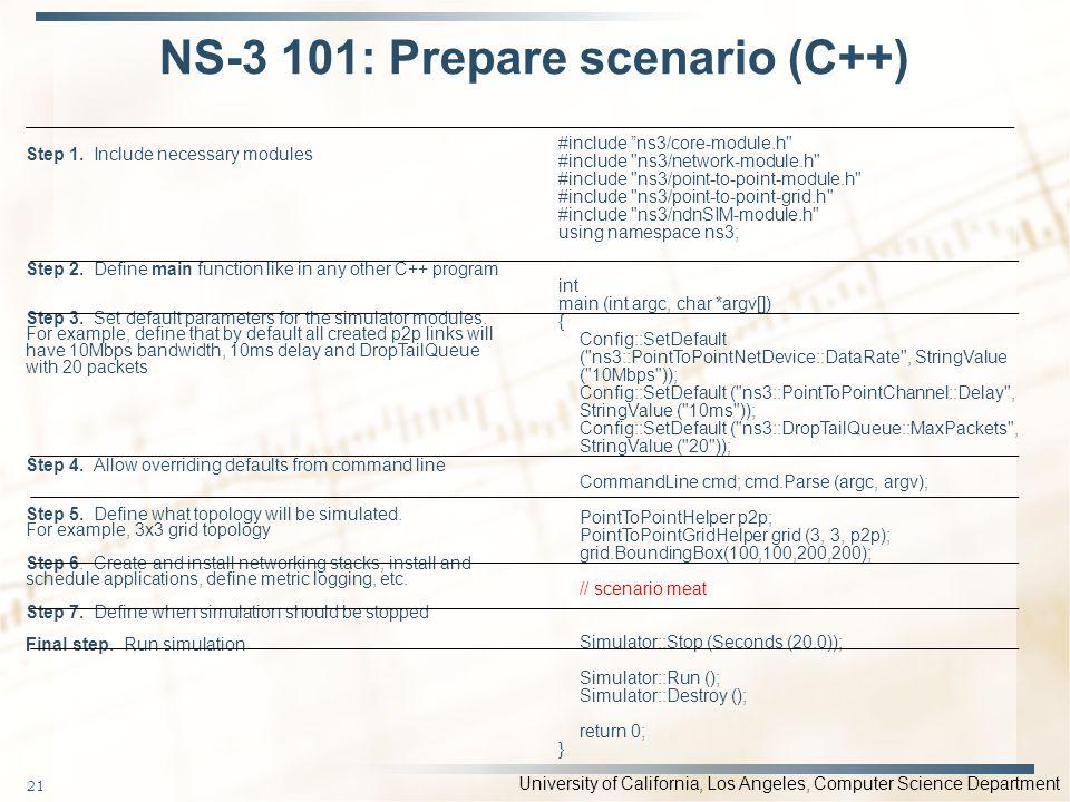 NS-3 101: Prepare scenario (C++)