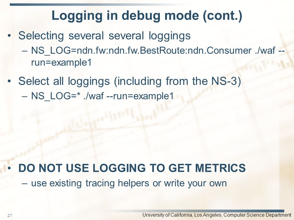Logging in debug mode (cont.)