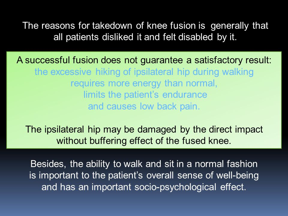 The reasons for takedown of knee fusion is generally that