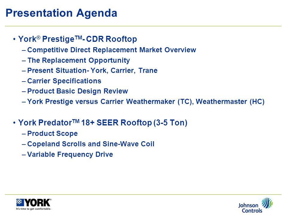 Presentation Agenda York® PrestigeTM- CDR Rooftop
